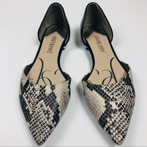 Sam & Libby Reptile Pointed-Toe D'Orsay Flat